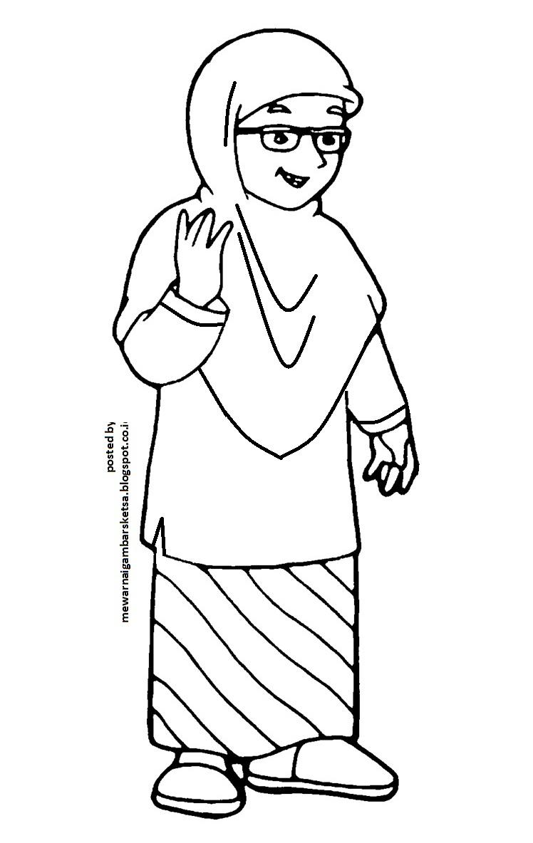 Mewarnai Gambar Sketsa Kartun Anak Muslimah 16 Memberi Salam