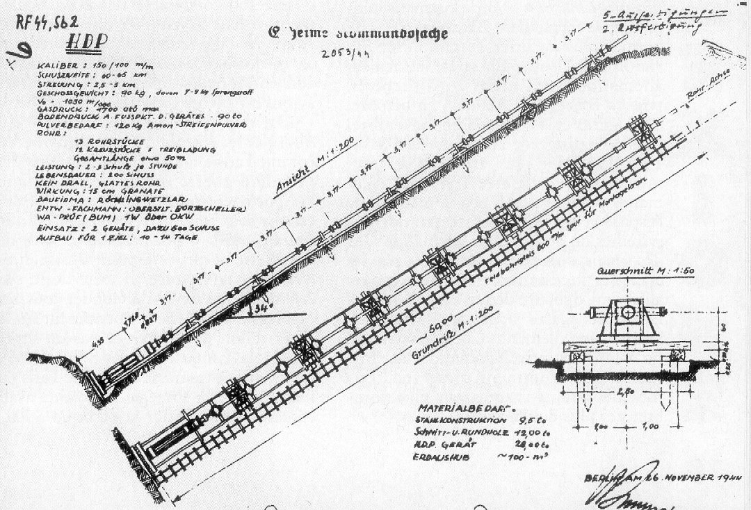 "A technical drawing of a 50m (160ft) ""short"" version of the HDP signed 26 November 1944. This appears to be the only version that was actually used in combat. Artillerie Abteilung 705 – Lampaden, Germany"