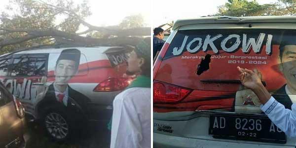 Heboh Mobil Bergambar Jokowi Tertimpa Pohon
