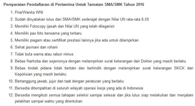 Rekrutmen SMA/K BUMN PT Pertamina Cirebon Desember 2016