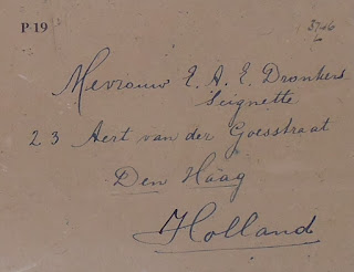 Envelope containing Dronkers farewell letter to his wife (National Archives - KV 2/46 file on Dronkers)