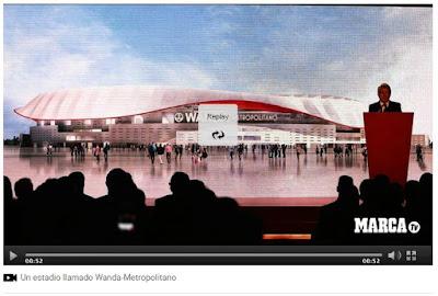 El Atlético de Madrid presenta el Wanda Metropolitano y nuevo escudo Wanda Metropolitano el nuevo estadio del Atlético de Madrid - Atlético de Madrid - Wanda - Wanda Metropolitano - Nuevo escudo del Atlético de Madrid - el troblogdita - Pantallazo de Marca TV - Marca - Marca.com
