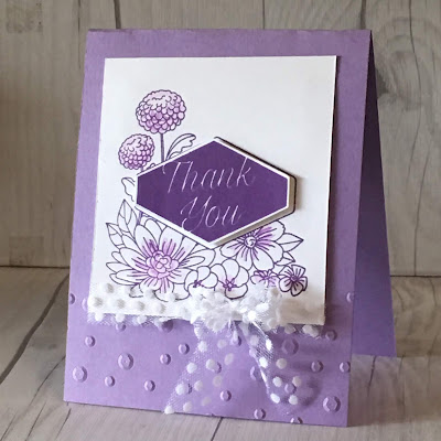 This card also used Gorgeous Grape and Highland Heather inks and paper