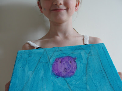 kid painting of dog