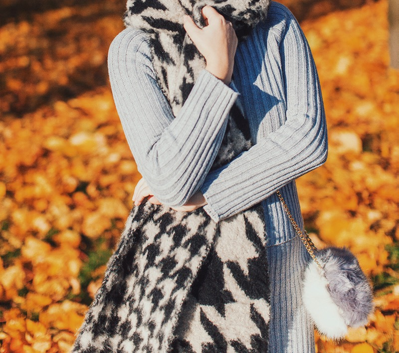 ASOS Oversized Ultra Fluffy Scarf In Multi Scale Houndstooth