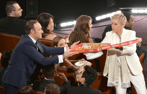 ellen degeneres kevin spacey pizza