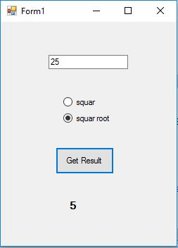 square and square root of a number using radio button vb