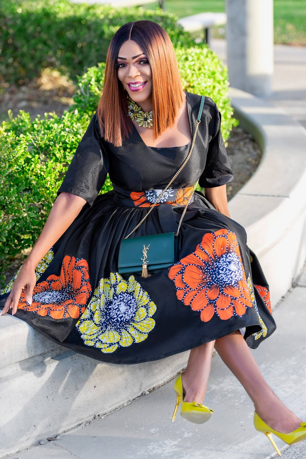 Black Dress with Ankara appliques