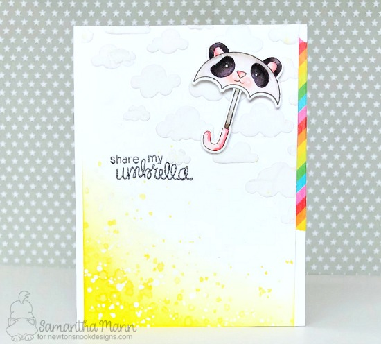 Umbrella Panda Card by Samantha Mann | Umbrella Pals Stamp Set and Cloudy Sky Stencil by Newton's Nook Designs #newtonsnook #handmade