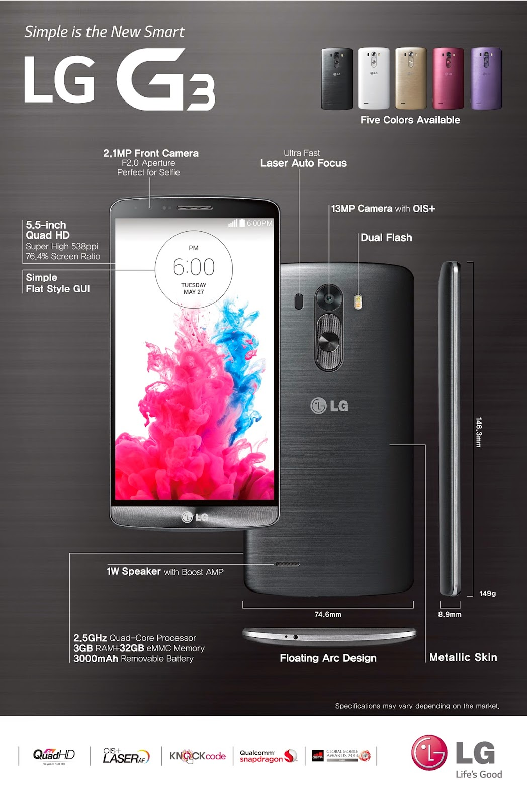 LG G3 Brochure of Feature and Specifications Overview