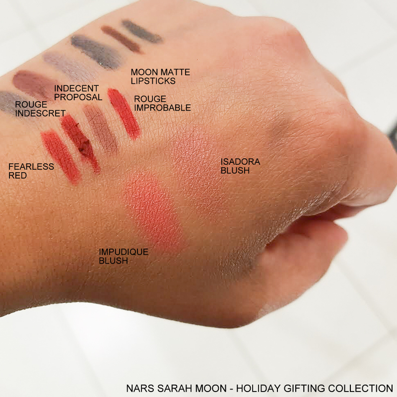 NARS Sarah Moon Holiday Color Collection - Swatches Moon Matte Lipsticks Fearless Red - Rouge Indescret - Indecent Proposal - Rouge Improbable - Blush - Impudique - Isadora