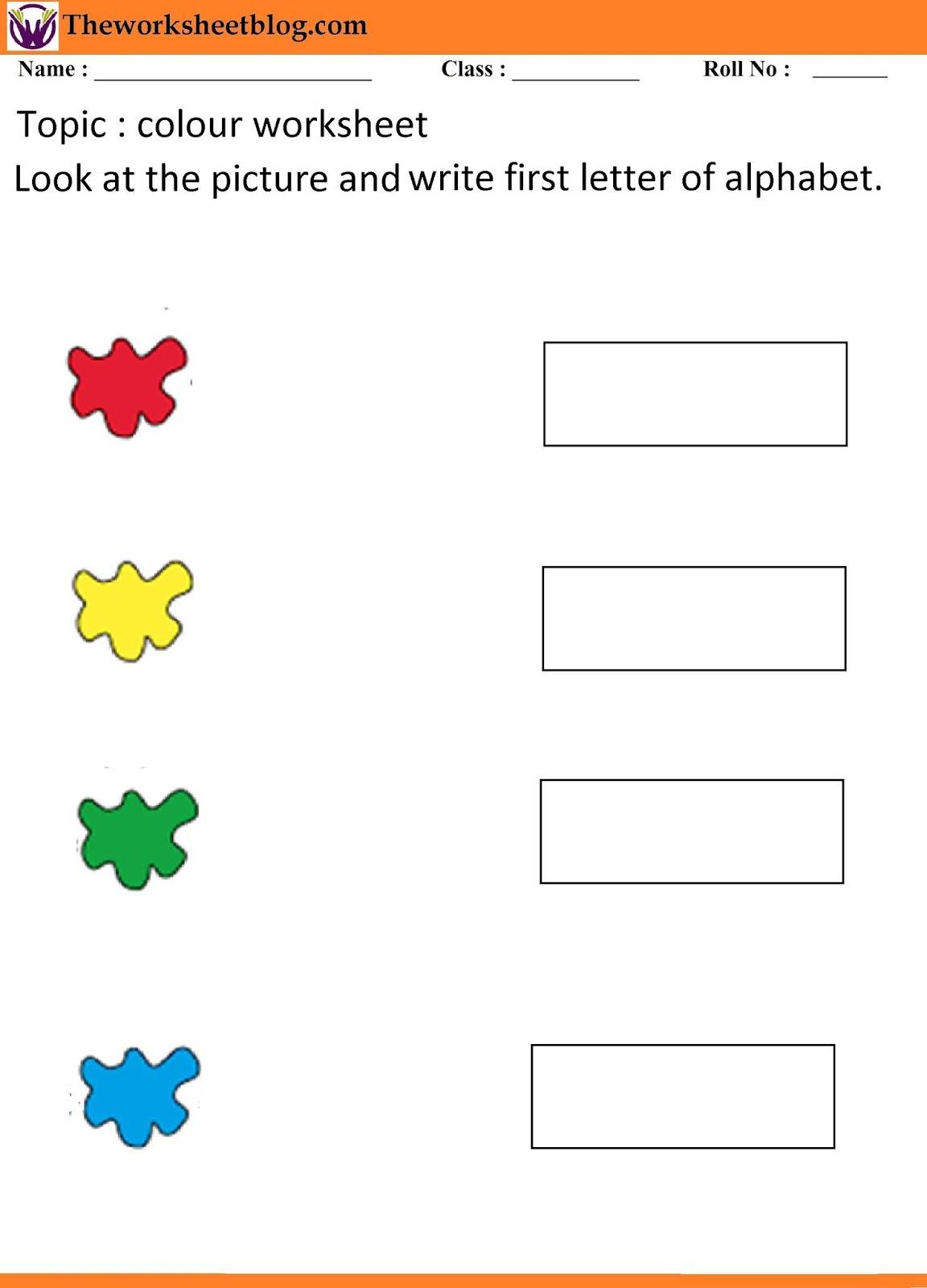 Colours recognition worksheet for kindergarten