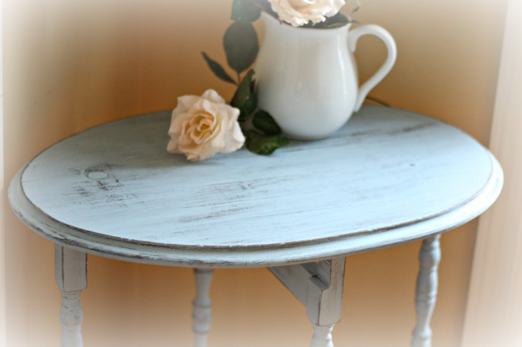 Shabby chic distressed table top.