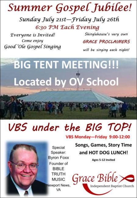 7-21 through 7-26 Summer Gospel Jubilee and VBS