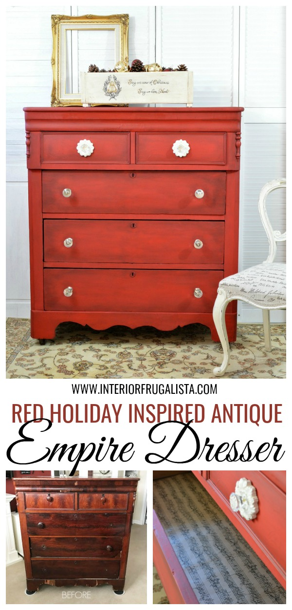 Red Antique Empire Dresser Makeover Before And After
