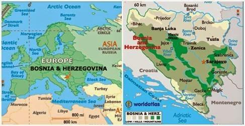 Peta Negara Bosnia dan Herzegovina