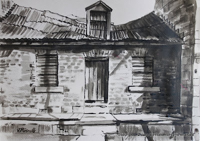 Plein air ink painting of dilapidated workers cottage in Pyrmont  by industrial heritage artist Jane Bennett