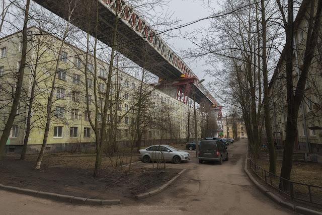Репортаж строительства Западного Скоростного Диаметра (ЗСД) в Санкт-Петербурге. Канонерский остров