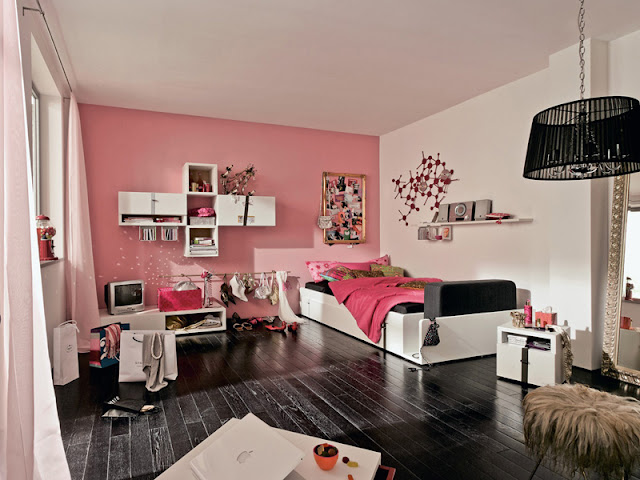 modern furniture for youth room ideas with pink and white wall colors