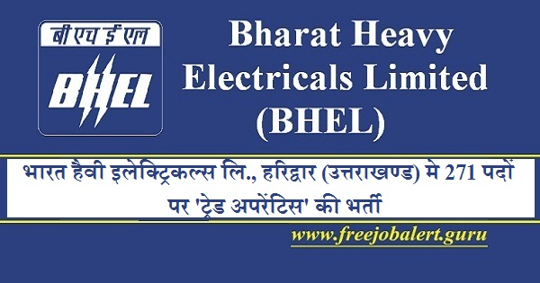 Bharat Heavy Electricals Limited, BHEL, Uttarakhand, UK, Trade Apprentice, Apprentice, 10th, ITI, Latest Jobs, BHEL Recruitment, bhel logo