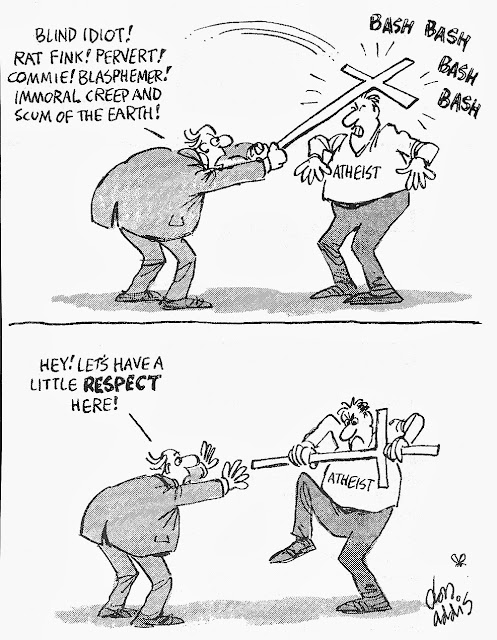 Funny Religious Cartoons - Blind idiot! Rat fink! Pervert! Commie! Blasphemer! Immoral creep and scum of the earth! Hey! Let's have a little respect here