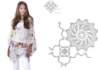 Poncho a crochet de verano con flores en espiral