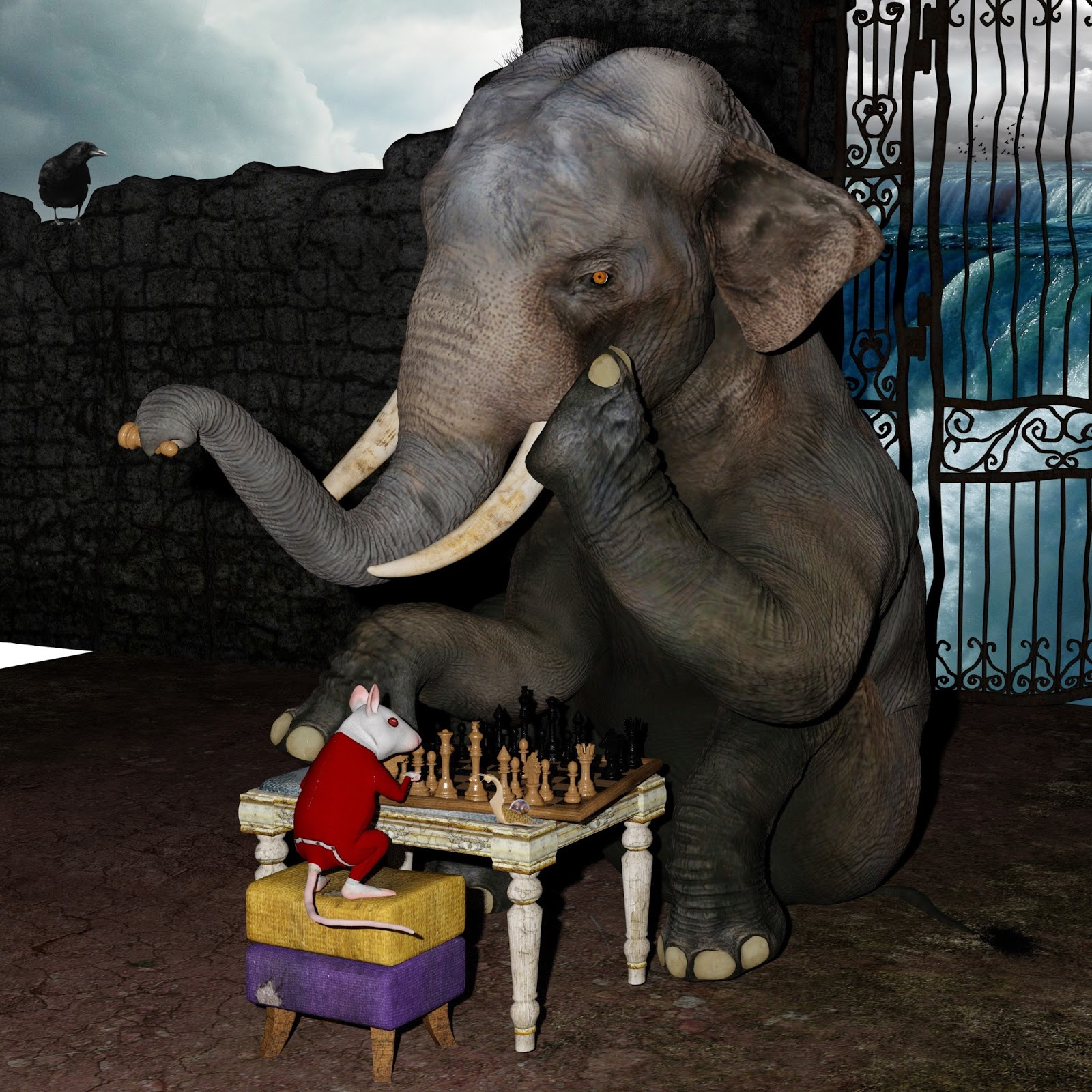 A funny picture of a rat and elephant playing chess.