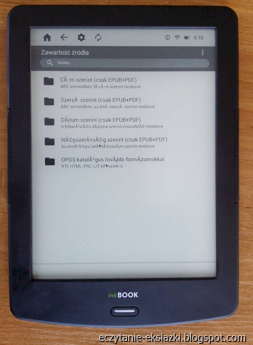 InkBOOK LUMOS – aplikacja Freebooks ma problemy z kodowaniem znaków w przypadku źródła w języku węgierskim