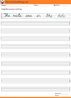cursive sentences handwriting worksheet