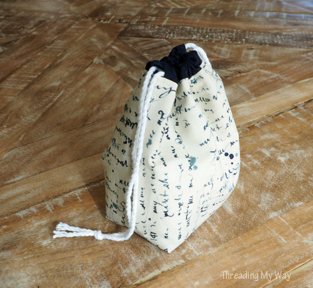 Make a drawstring bag, complete with divider, to hold nail polish. Tutorial by Threading My Way.