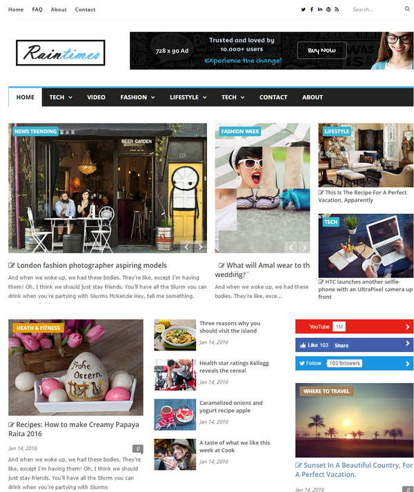 Raintimes Responsive Blogger Template Free