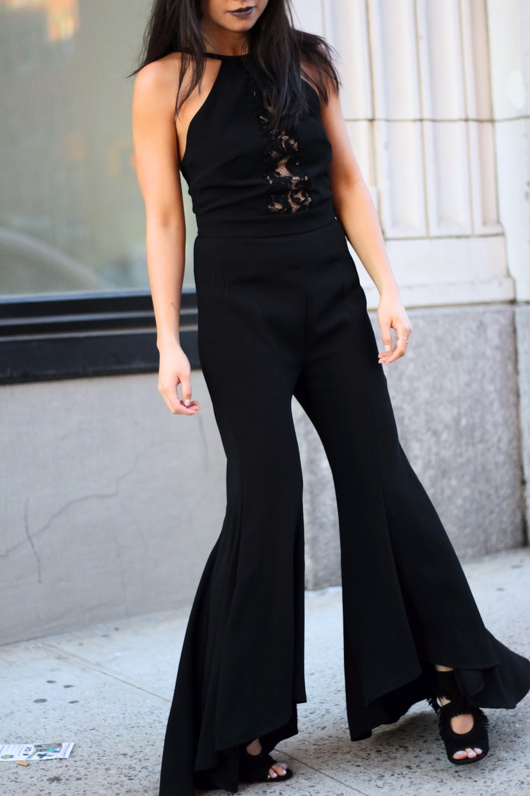 lace flared jumpsuit
