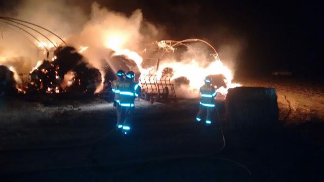 Gran incendio en campo de Cuccotti con pérdida de galpones y animales