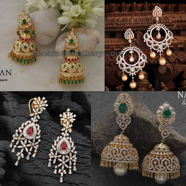 Diamond jhumkas by Navrathan Jewellers