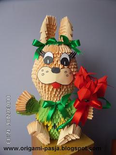 królik,zając, wielkanoc, papier, klej, modułowe origami