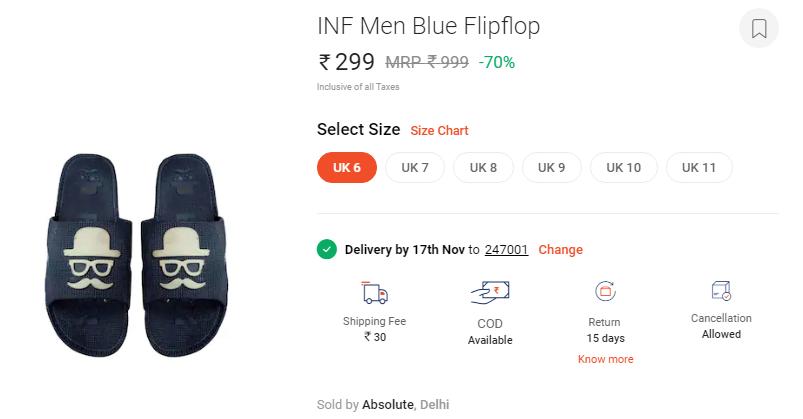 059bbadff316 Buy INF Blue Flip Flop for just Rs.99