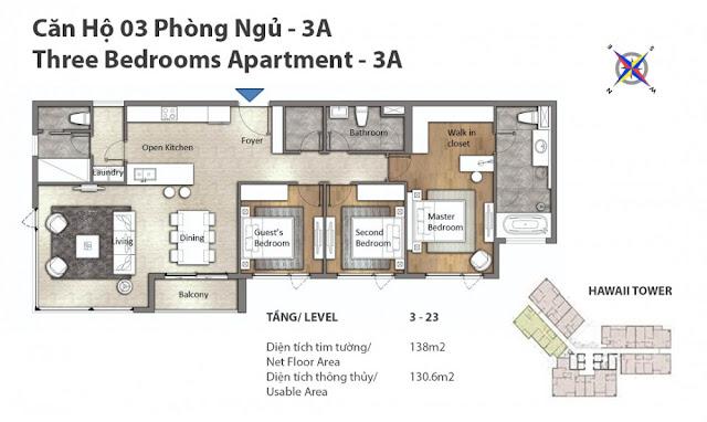 Mặt bằng căn hộ 3 phòng ngủ Đảo Kim Cương