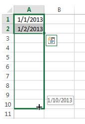 fill handle tanggal atau hari dalam bulan