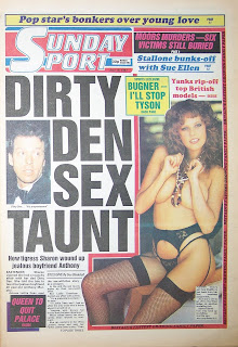 Front page of the Sunday Sport newspaper dated 19th July 1987
