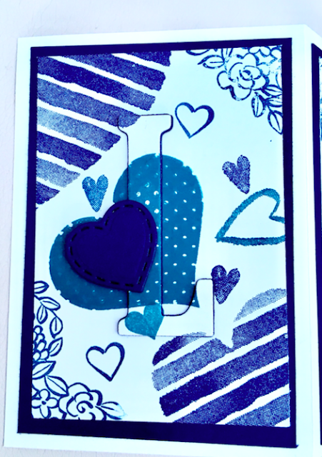 LOVE eclipse card using Stampin' Up Large letter dies