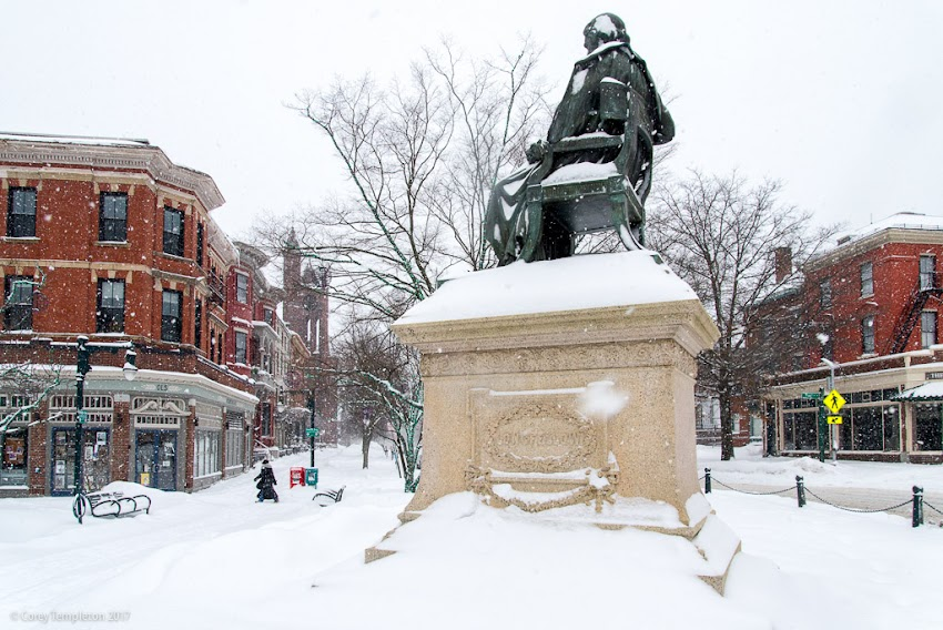 Portland, Maine USA February 2017 photo by Corey Templeton of Snow in Longfellow Square winter at State and Congress Streets.