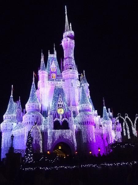 Beautiful Cinderella Castle at night in Disney World