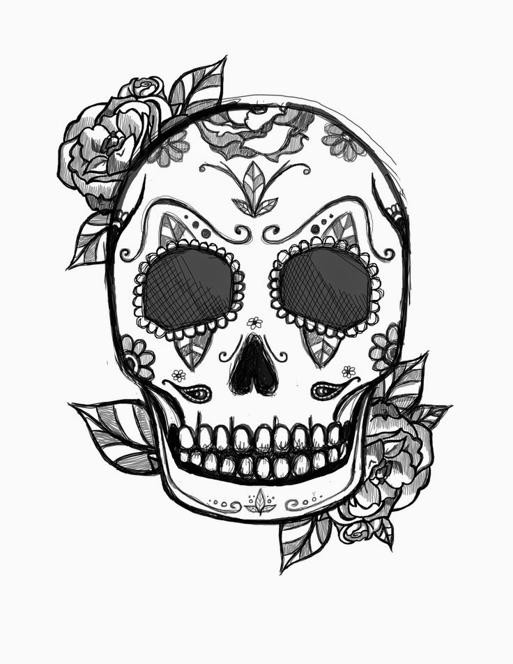 It is a photo of Free Printable Sugar Skull Coloring Pages in dia de los muertos skull