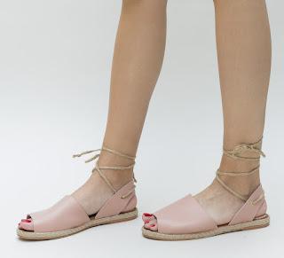 Sandale de vara lejere ieftine online roz, cu snur