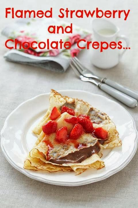 Flamed Strawberry and Chocolate Crepes Recipe