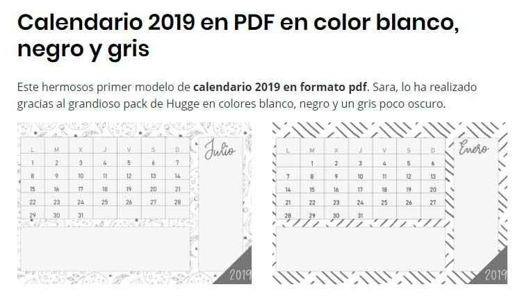 calendario 2019 en color negro y gris