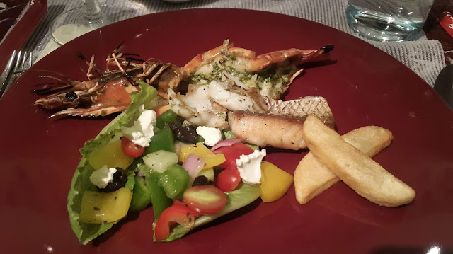 Mixed Grill of Fresh Seafood with Greek Salad and Crusty Bread