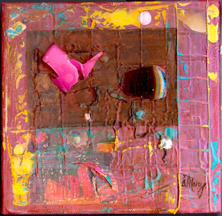 Mixed media on dark red, Mary Rush Gravelle