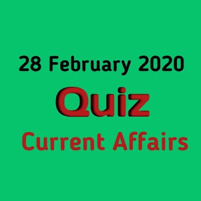 Current Affairs Quiz in Hindi - 28 February 2020