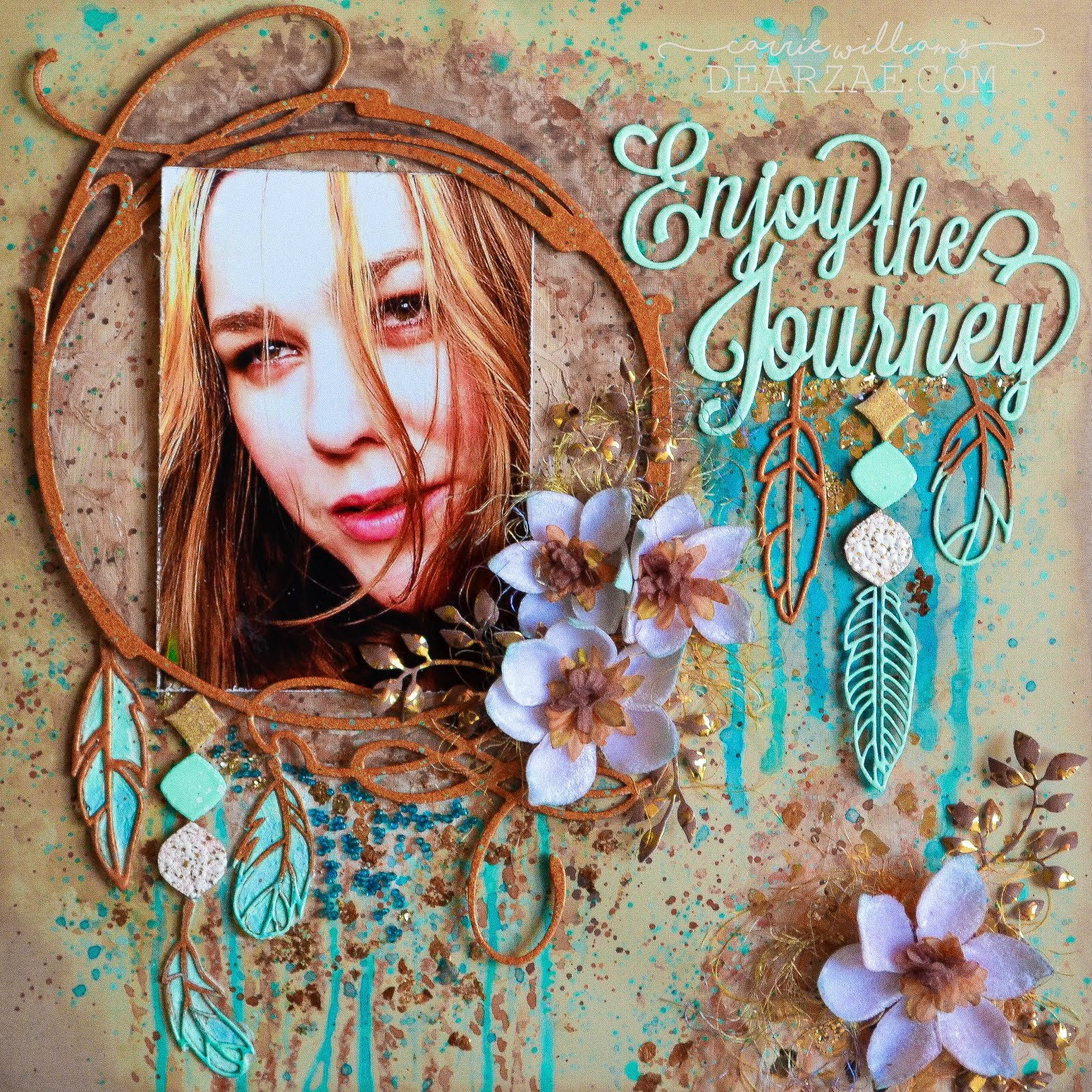 Mixed media scrapbook layout page in turquoise, aqua, copper, and bronze with chipboard frame and feathers with texture paste, watercolors, paint splatters, glimmer mist, mica flakes, die cut foliage, and Petaloo velvet magnolias